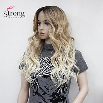 StrongBeauty Heat Resistant Long Blonde Ombre Wavy Little Lace Front Long Wig