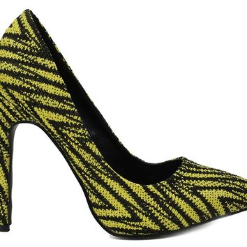 Yellow Zig Zag Chevron Pointed Toe Stiletto Heel Pumps