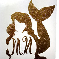 "3"" Mermaid Monogrammed Stickers with personalize initials"