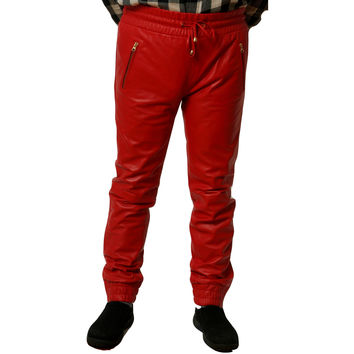 Mens Leather Joggers Red Sweat Pants Trim Skinney Fit Smooth Nappa Sheepskin Black Liner