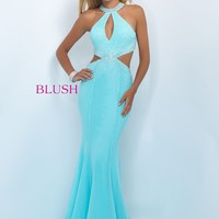Blush 11034 Sky Blue Jeweled Open Sides Prom Dress