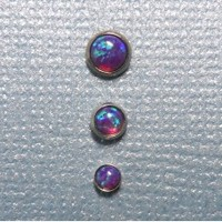 Set of Three Indigo Opal in Steel Microdermal Jewelry - 3mm 4mm 5mm
