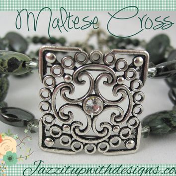 Bracelet and Earrings Handmade Bangle Decorative Dark Green Jasper Maltese Cross