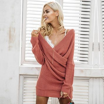 V Neck Cross Knitting Elegant Long Sleeve Casual Sweater Dress