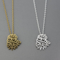 Cut Out Winter Owl with cute muffler & Hat Pendant Necklace  -  Available color as listed ( Gold, Silver )