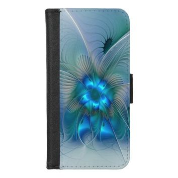 Standing Ovations, Abstract Blue Turquoise Fractal iPhone 8/7 Wallet Case