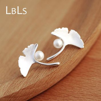 LBLS Real 925 Sterling Silver Ginkgo Leaf Stud Earrings Chinese Flower Style  Simulated Pearl Sterling Silver Jewelry Earring