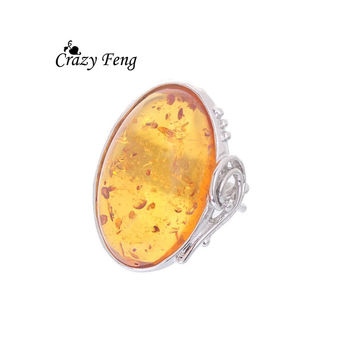 Size 9 Antique Finger Amber Ring For Women Fashion Party Zinc Alloy Women Vintage Retro Elegant Round Amber Ring Jewelry