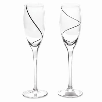 Silver-plated Swirl Glass Toasting Flutes - Etching Personalized Gift Item