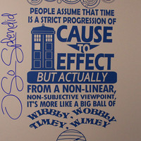 "Doctor Who Inspired Large Wall Vinyl Decal - ""People assume that time..."" with TARDIS and Doctor's Name in Gallifreyan - Timey Wimey Sticker"