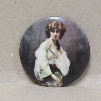 Antique Coca Cola Pocket Mirror Gypsy Girl Tonic  Celluloid Advertising  1904    Whitehead Hoag