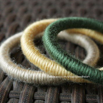 Three Yarn Wrapped Bangle Bracelets - Tan, Yellow, and Dark Green