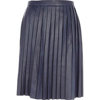 River Island Womens Blue Eudon Choi pleated leather skirt