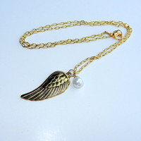Gold Angel Wing Necklace With Freshwater Pearl
