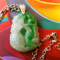 MEN    JEWELRY     Carved  2 color  jade  pendant  on chain  necklace | BellaWorxJewelry - Jewelry on ArtFire