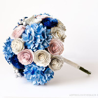 Large Bridal Bouquet with Hydrangeas, Roses & Brunia Berries made from Jane Austen Books - IN YOUR COLORS - Book Page Paper Wedding Flowers