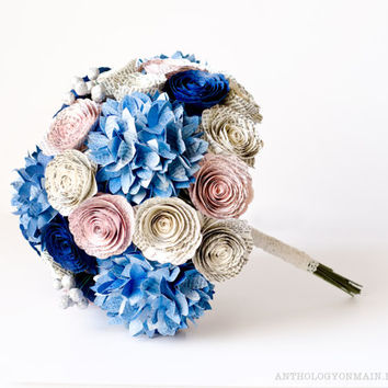 Shop book paper flower bouquet on wanelo large bridal bouquet with hydrangeas roses brunia berries mad mightylinksfo
