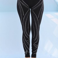 BLACK SILVER STUDDED STRETCH LEGGINGS