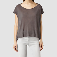 ALLSAINTS US: Womens Pina Tee (MUDDY BROWN)