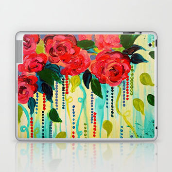 ROSE RAGE Stunning Summer Floral Abstract Flower Bouquet Feminine Pink Turquoise Lime Nature Art Laptop & iPad Skin by EbiEmporium