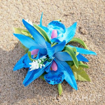 Orchid Burst Blue Hawaiian Flower Hair Clip