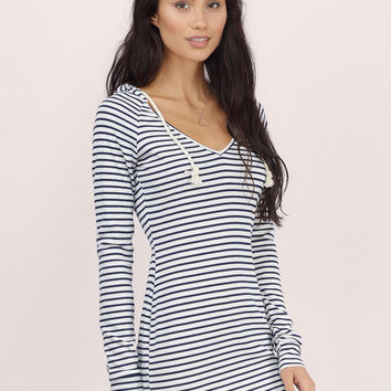 Hoodie Up Striped Dress $40