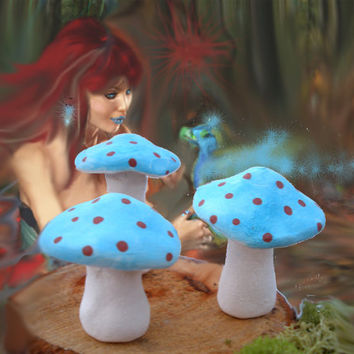 Turquoise Dragon & Coral Fairy Mushrooms (unscented) - Pottery Potpourri - Aromatherapy - real clay - terrarium villiage - ceramic