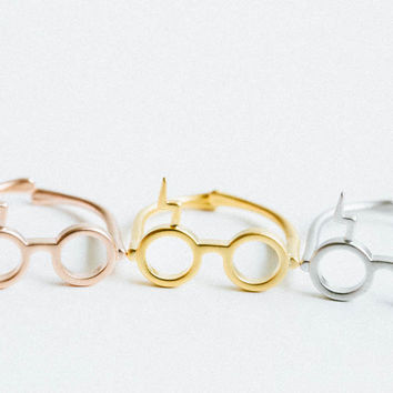 silver matt Harry Potter glasses ring,ring,harry potter jewelry,geekery,glasses ring,lightning ring,Harry Potter Ring,,handmade,cute ring