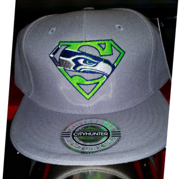 Super Seahawks embroidered hat on snapback flatbill or Flexfit 6277 curved or Flexfit 210 flat bill hat