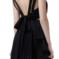 Women's Silk Pleated Back Bow Dress Black (US 6, Black 1)