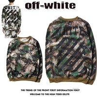Camouflage Stripes Couple Round-neck Hoodies [9070640963]