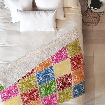 Natalie Baca Fiesta Patchwork Fleece Throw Blanket