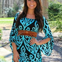 Tunic dress with a damask print in black & elastic neckline