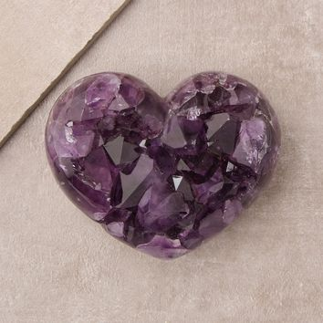 Amethyst Crystal Geode Puffy Heart - One Of A Kind