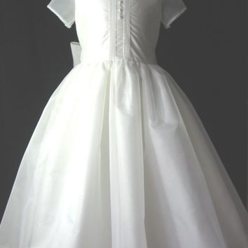 Girls Heirloom First Communion Dress or Flower Girl - SIlk Dupioni/Silk Organza - Ava
