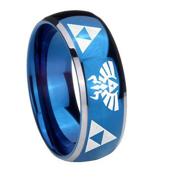 8MM Glossy Blue Dome Legend of Zelda Tungsten Carbide 2 Tone Laser Engraved Ring