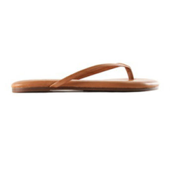 Roee Leather Flip Flops in Whiskey