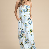 Summer Melody Floral Maxi Dress - Light Blue