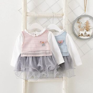 2018 New Spring Casual babys infant girls sweet Knitted Hollow out Vest +long sleeve mesh Princess dress two Piece set Y2841