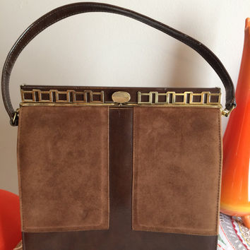 Vintage 1960's MCM Mid Century Mad Men Brown Simulated Patent Leather and Suede Naturalizer Hand Bag
