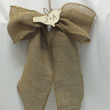 Rustic Burlap Bow With Personalized Wood Bird - Burlap Pew Bow Burlap Wedding Decor  Rustic Wedding Decor   Country Wedding Decor