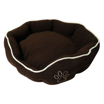 Evelots® Oval Corduroy Pet Bed With Reversible Pillow, Small Or Medium, Brown