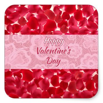 Valentine's Day Lace Red Roses Petals Sticker