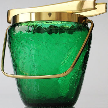 Ice Bucket with Ice Tongs 50s 60s Absinthe Green Glass Gold Rim / Vintage Mid Century Barware Bar Cart Accessories Crackle Cocktail Set