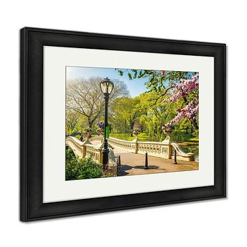 Framed Print, Bow Bridge In Central Park At Spring Sunny Day New York City