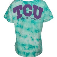 Official NCAA Texas Christian University Horned Frogs TCU Horned Frog FROGS FIGHT! Women's Boyfriend-fit Short Sleeve Crew Neck Crystal Wash Soft Premium T-Shirt