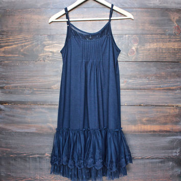 Ryu whimsical fairytale lace dress slip - navy