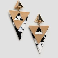 Glamorous gold mono resin earrings at asos.com