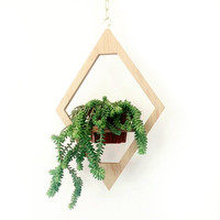 Geometric Hanging Planter // Modern Brass & Wood Decor