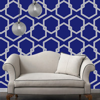Temporary Wallpaper - Honey Comb - Metallic Silver/Deep Blue